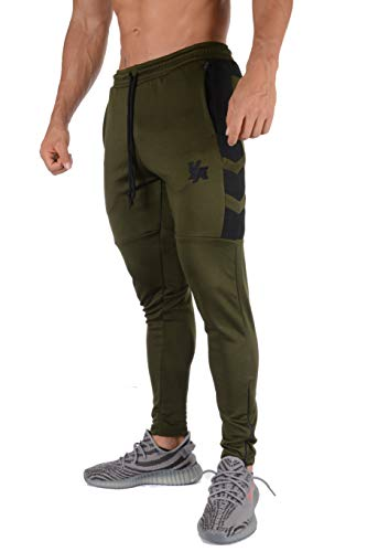 YoungLA Track Pants Men Workout Athletic Joggers Training Tapered Gym 205 Olvbk S Olive Black