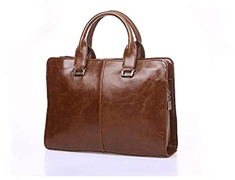 Huntvp Business Briefcase Faux Leather Satchel Bag 13 Inch Laptop Shouder Messenger Bags