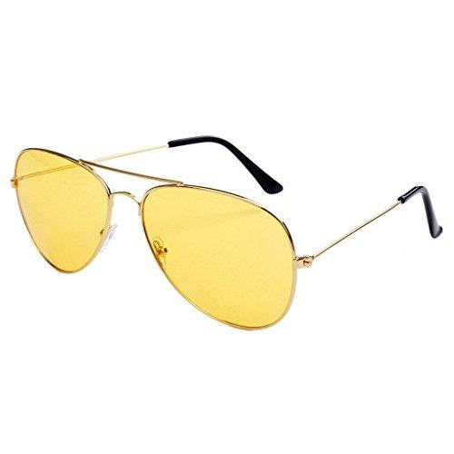 Hukai Pilot Sunglasses Yellow Red Color Lens Fashion Eyeglasses Big Mirror Reflective (A)
