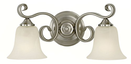Feiss VS10402-BS Vista Glass Wall Vanity Bath Lighting, Satin Nickel, 2-Light (17.25
