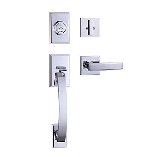 TOGU HS27D Heavy Duty Single Cylinder Handleset with Wave Style Lever Door Handle,Solid Entry Door Lockset Leverset for Home Exterior Doors,Easy Installation,Polished Chrome