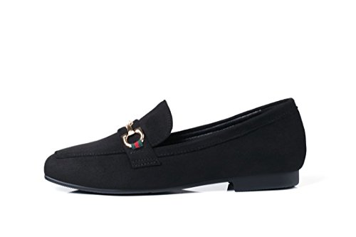 Zapatos de Tacón/Durante la Primavera y el Otoño de Zapatos de Mujer Europea y Americana Home Zapatos de Base Plana Cuadrada black