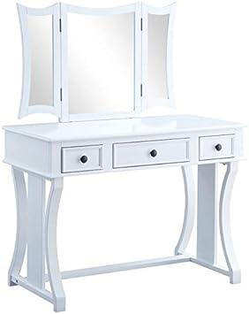 Amazon Com Acme Popidia Vanity Set Tan Fabric White Furniture Decor