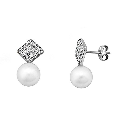 Boucled'oreille 18k or blanc diamant perle de culture zircone cubique [AA5997]