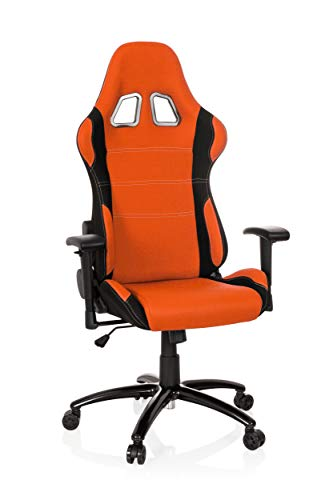 hjh OFFICE 729340 silla gaming GAME FORCE tejido negro / naranja silla de oficina reclinable silla