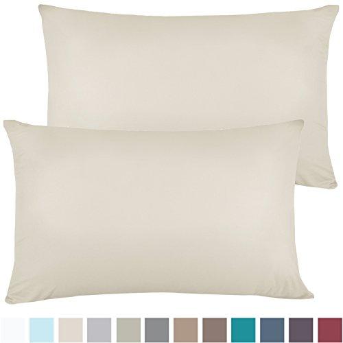 Set of 2 Premium King-Size Pillowcases Microfiber Linen, Hypoallergenic & Breathable Design, Soft & Comfortable Hotel Luxury – Cream Beige