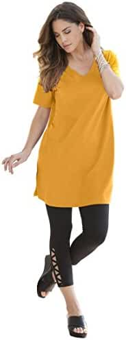 Roamans Women's Plus Size V-Neck Max Tunic Sunset,6X