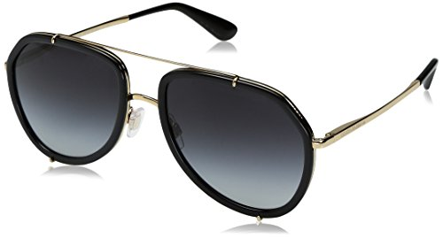 Dolce & Gabbana Women's Metal Woman Aviator Sunglasses, Black/Gold, 55 - Sunglasses & Dolce Gabbana