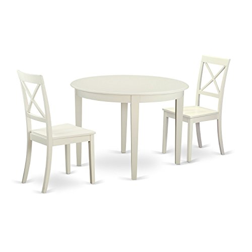 East West Furniture BOST3-WHI-W 3 Piece Small Kitchen Table and 2 Chairs Set for 2 People
