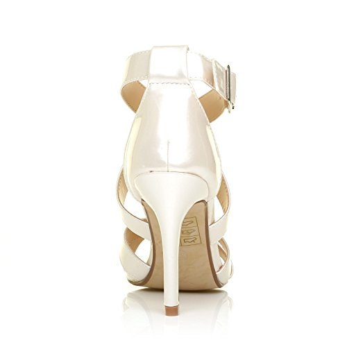 ShuWish UK Sophie Pearl White Metallic Strappy High Heel Sandals xaQDnFnPo
