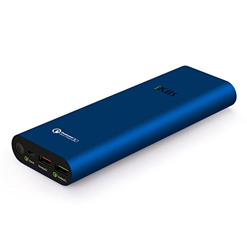 Quick Charge 3.0 iKits [Qualcomm Certified] 20000mAh Power Bank Large Capacity LG Battery Bidirectional QC3.0 Input:QC3.0, Output:2.4A+QC3.0 for Samsung LG Google Nexus iPhone/iPad & more Blue