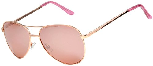 Aviator Women Men Fashion Designer Sunglasses Metal Frame Colored Lens OWL (Gold_Rose, PC - Coloured Rose Sunglasses