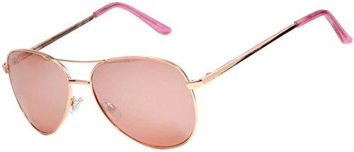 Aviator Women Men Fashion Designer Sunglasses Metal Frame Colored Lens OWL (Gold_Rose, PC - Sunglasses Rose Aviator Gold