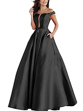 NAXY Woman Off The Shoulder Satin Prom Dress Long with