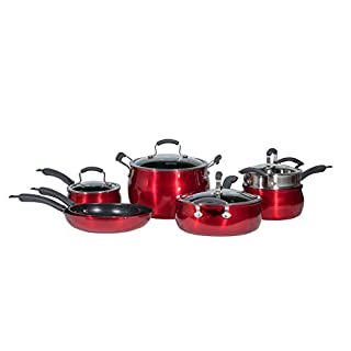 Epicurious Cookware Collection- Dishwasher Safe Oven Safe, Nonstick Aluminum 11 Piece Red Cookware Set