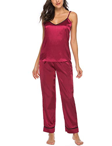 AIRPJ Satin Pajamas Set Silk Sleepwear Cami Nightwear Sexy Lingerie PJ S-XXL