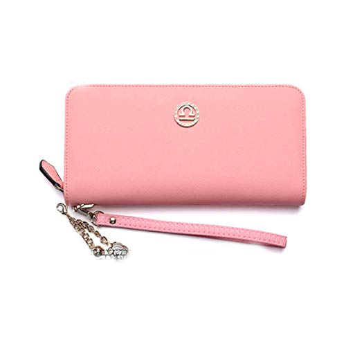 Muziwenju Women's 12 Constellation Leather Wallet, Clutch, Big Travel Wallet, Women's Zipper Wallet, Women's Boxed Gift, Love Gift (Pink) Latest Style, Practical (Color : Libra)