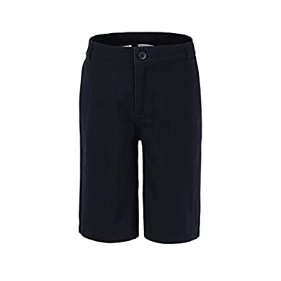 Bienzoe Boy's School Uniforms Flat Front Twill Bermuda Shorts