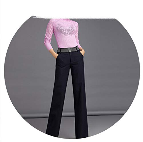 Winter Wool Warm Trousers Black Woman Loose Wide Leg Pants Office Dress Straight Pants with Belt,Black,M ()