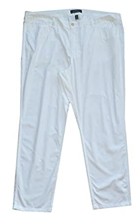 Lauren Jeans Co. White Cotton Poplin Pant 22W