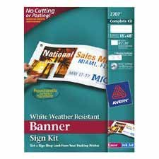 Avery Banner Sign Kits White 18 X 48 1SIGN Per Package Avery Banner Sign