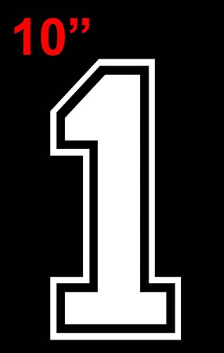 10 Tall Single Number for Sports T-Shirt Jersey Football Baseball,Iron On, Heat Transfer, Team,t-Shirt (Style C)(1-White)