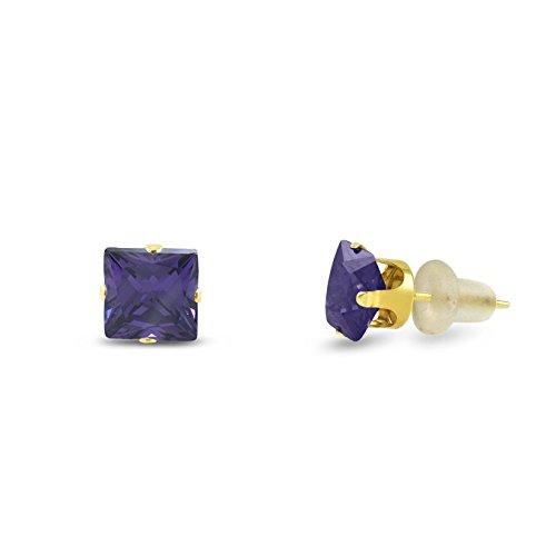 CZ 6x6mm Square Princess Cut Purple Amethyst Solid 10K Yellow Gold 4-Prong Set Stud ()