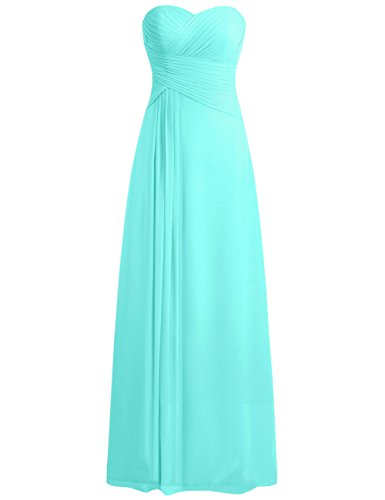 JAEDEN Bridesmaid Dress Prom Dresses Long Sweetheart Chiffon Evening Gown Pleat Strapless Turquoise S -