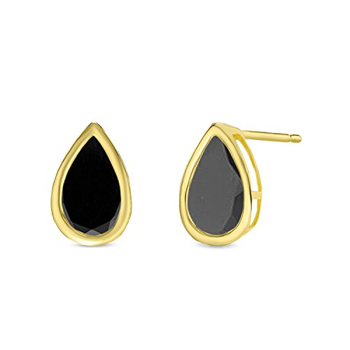 8x5MM Pear Shaped Natural Black Onyx 14K Yellow Gold Stud Earrings