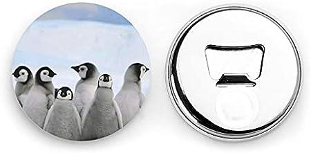 Pingüinos jóvenes con abrebotellas redondos de nieve / imanes de nevera sacacorchos de acero inoxidable pegatina magnética 2 piezas