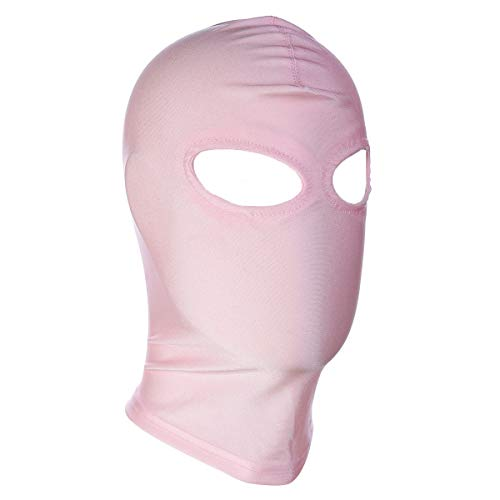 DERENHER Spandex Full Face Balaclava Eyes Holes Costume Mask Latex Zentai Hood Women (Pink-2)