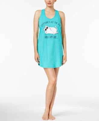Jenni by Jennifer Moore Women's Graphic-Print Knit Sleepshirt (Small, Pina)