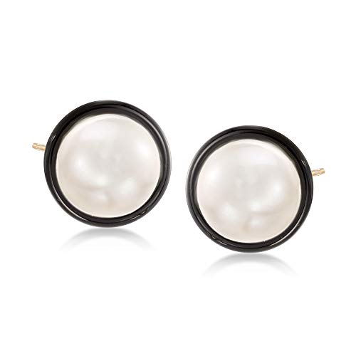 Ross-Simons 10mm Cultured Pearl and Black Onyx Earrings in 14kt Yellow Gold