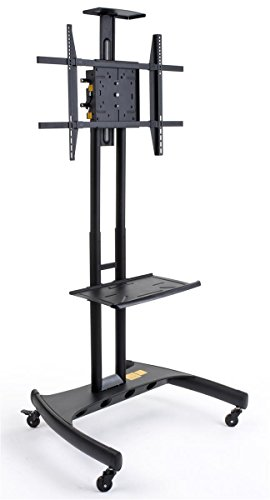 Displays2go EMSTN2B Black Powder Finish Universal Rolling TV Stand, Free-Standing with Casters and Accessory Tray