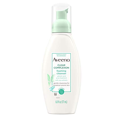Aveeno Clear Complexion Foaming Oil-Free Facial Cleanser with Salicylic Acid for Breakout Prone Skin, Face Wash with Soy Extracts, Hypoallergenic and Non-Comedogenic, 6 fl. Oz (Pack of 3)