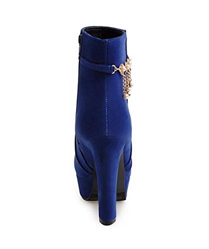 Heel Boots Boots Fashion Blue Rhinestones Martin Shoes Strap Dress Women'S Pearl shoes MNII Stiletto Platform Fashion Ankle Pump Party Pq6zaU5
