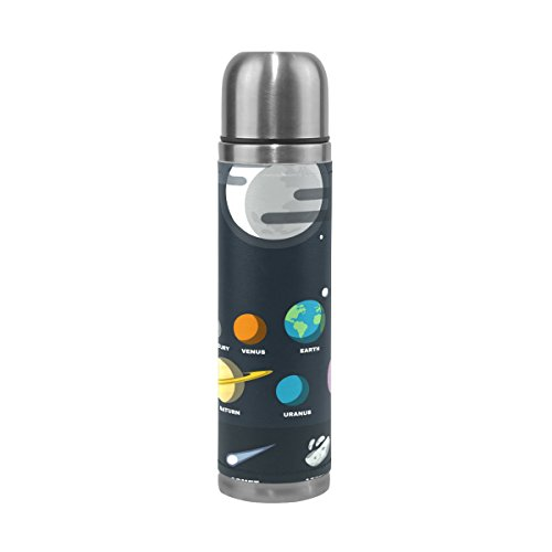 saobao Water Bottle Solar System Stainless Steel Double Wall Vacuum Insulatied Thermos Cup Leak Proof Travel Coffee Mug Genuine Leather Cover Keep Drinks Hot and Cold 17 Oz by saobao