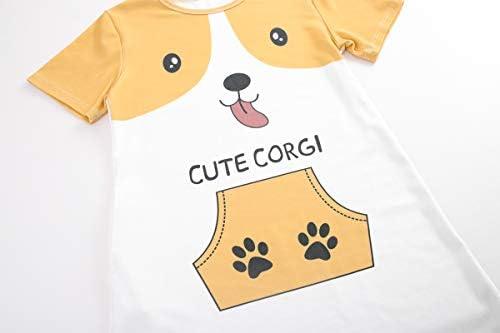 Hupohoi Big Girls Summer Cartoon Dog Nightgown Lovely Cute Corgi Pattern Sleep Dress