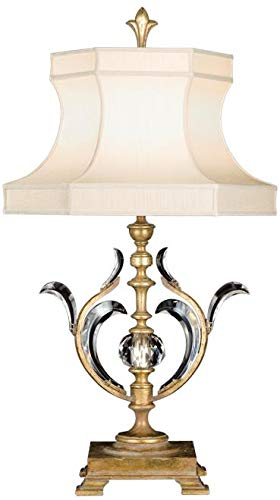 EuroLuxHome Table Lamp Beveled ARCS Transitional 1-Light Muted Gold Leaf Silk Shantun ()