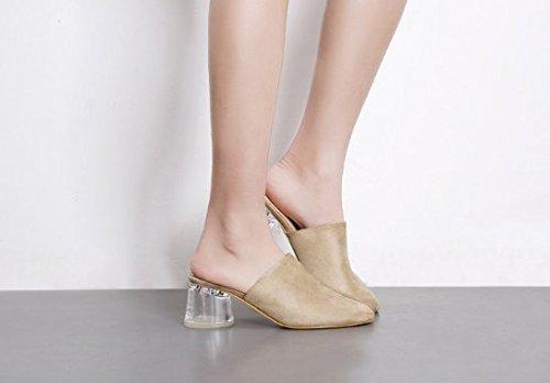 SCLOTHS Sommer Frauen Flip Flops Wasserdichte Dick mit Transparente High Hälfte Heel Mitte der Ferse Hälfte High Ziehen cefa27