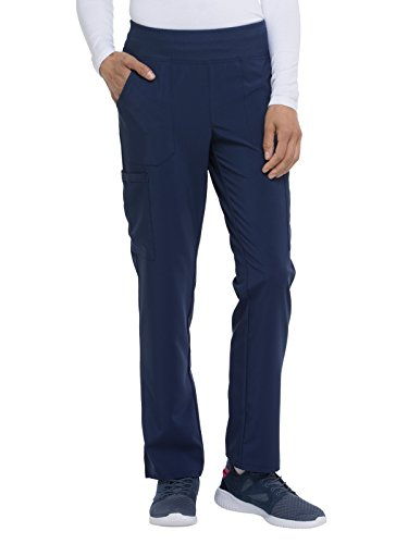 Dickies EDS Essentials Natural Rise Tapered Leg Pull-On Scrub Pant, S Petite, Navy from Dickies