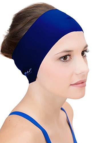 Sync Hair Guard & Ear Guard Headband - Wear Under Swim Caps as Water Repellent Navy
