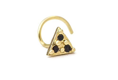 Triangle Nose Stud: Gold 14K Enameled Handmade Nostril Jewelry in 20 Gauge by Studio Meme