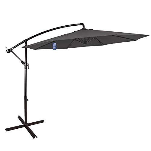 Sundale Outdoor 10 Feet Aluminum Offset Patio Umbrella with Crank and Cross Bar Set, Cantilever Umbrella for Deck, Garden, Backyard, 8 Steel Ribs, 100% Polyester Canopy Shade (Grey)