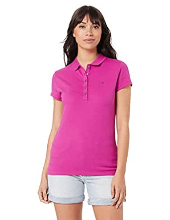 TOMMY HILFIGER Women's Slim Fit Polo Shirt, Fuchsia Red, XS