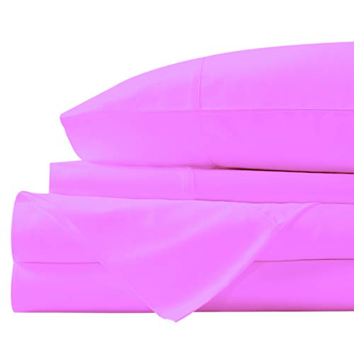 SNUG CUARTO Egyptian Sheet Set Super Soft 600 Thread Count Luxury Egyptian Cotton -4 Pieces Sheets 19-Inch Deep Pocket Wrinkle Free and Hypoallergenic (Queen, Light Pink)