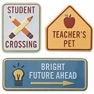 Karen Foster Metal Signs - Karen Foster Design Adhesive Back Metal Signs, 3/Pkg: School