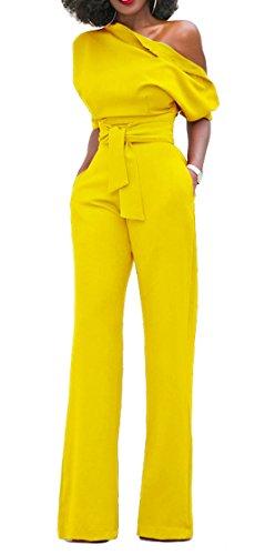 Bigyonger+Women%27s+Sexy+One+Off+Shoulder+Jumpsuits+Wide+Leg+Long+Romper+Pants+with+Belt