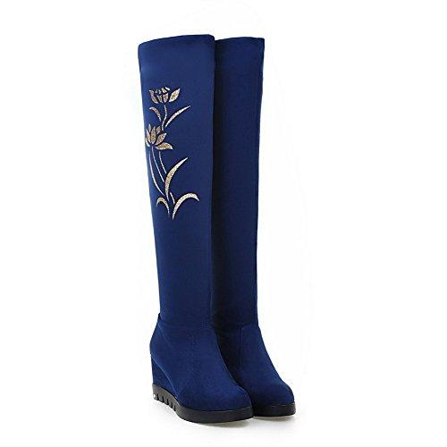 VogueZone009 Damen Hoher Absatz Hoch-Spitze Rein Ziehen auf Stiefel mit Paillette Blau