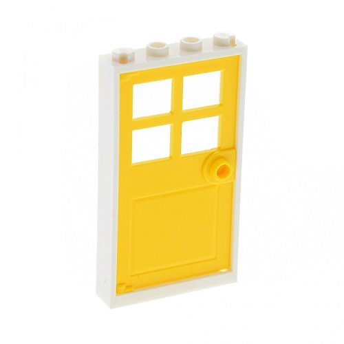 LEGO City Town White Door Frame 1 x 4 x 6 and Yellow Door 1 x 4 x 6 with 4 Panes and Stud Handle - Loose (Grau Ferrari)